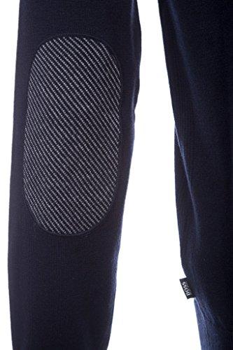 HUGO BOSS Herren Troyer Pullover Baumwollmix Sweater Unifarben, Größe: M, Farbe: Blau