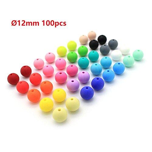 RUBY- 100 Pcs Baby Silicone Dentition 12mm Perles de Silicone Anneau de Dentition DIY Collier Bracelet Accessoires Jouets pour Bébé (12mm)