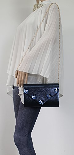 Party Blue Clutch Evening Out Floral Prom Josie Bag Envelope Ladies Night Celebrity Wedding Shiny Swankyswans IR6q7
