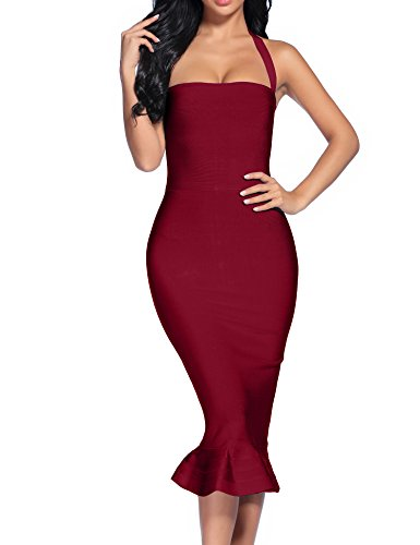 - Women's Bandage Dress Sexy Halter Fishtail Bodycon Party Club Dress (Wine, S)