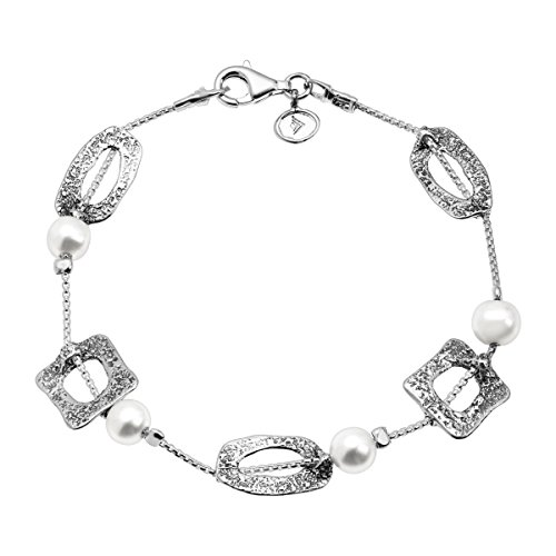 Silpada 'Squared Away' 5-5.5 mm Freshwater Cultured Pearl Square Station Chain Bracelet in Sterling Silver ()