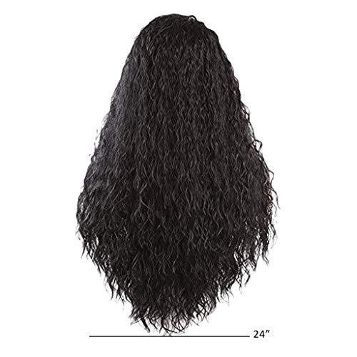 JYS Black Short Curly Fluffy Wig Halloween Cosplay Wig Costume Party Wig African American Wigs for Black Women, Synthetic Wigs for Black Women, Black Curly Hair Wigs (24 inches) (Best African American Halloween Costumes)