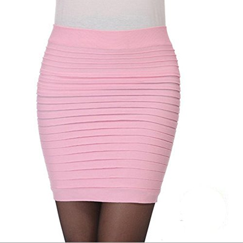 Newport Spandex Skirt - YoungG-3D Woman OL Mini Short Skirt Women Pleated Skirt High Waist Candy Color Elastic Pleated Skirt Pink One Size