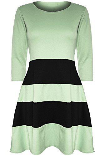 Damen Damen 3/4 Ärmel Schwarz Blockstreifen Panel Abgefackelt Schlittschuhläufer Kleid Plus Größe - Mint/Schwarz, Übergröße (44/46)