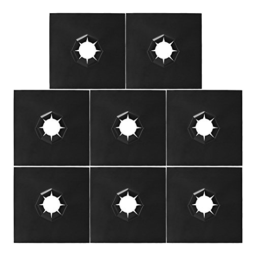 NKTM Thickened Gas Range Protectors, Heavy Duty Stovetop Burner Protector Black Liner Cover Cleaner, Non-Stick, Reusable, Dishwasher Safe, Easy to Clean - 8 Pack