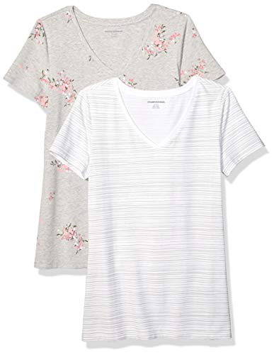 Amazon Essentials Women's 2-Pack Classic-Fit Short-Sleeve V-Neck Patterned T-Shirt, Floral/Grey Stripe, M
