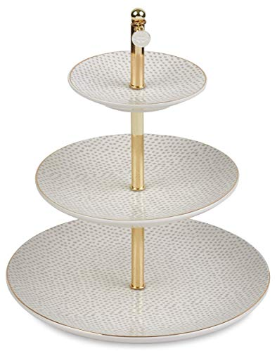West Emory Estate Collection Golden Three Tier Textured Ceramic Jewelry Tray for Vanity and Dressing Table