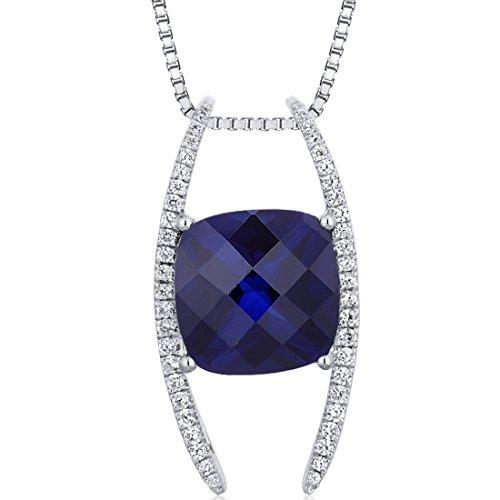 Created Sapphire Pendant (Slider Style Large 7.50 carats Cushion Cut Sterling Silver Rhodium Finish Created Blue Sapphire Pendant)