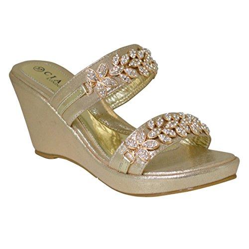 Ladies Diamante Buckle Mid Wedge Summer Sandal Gold G0rKbip