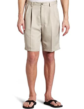 Haggar Men's Big-Tall Cool 18 Gabardine Hidden Expandable Waist Pleat Front Short,String,44