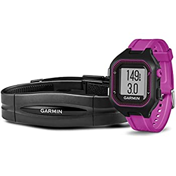Garmin Forerunner 25 Bundle with Heart Rate Monitor, Small - Black and Purple