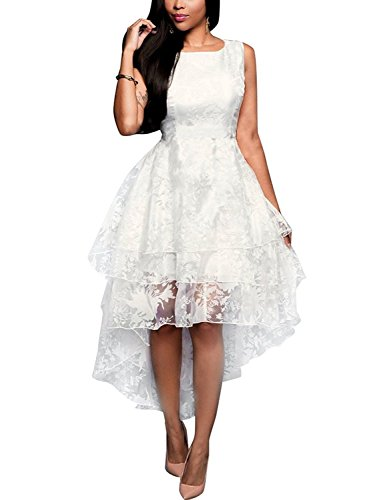 Red Dot Boutique 8821 - Plus Size Sleeveless Multi Layer High Low Bridal Wedding Dress (1X, White) (White Dot Dress)
