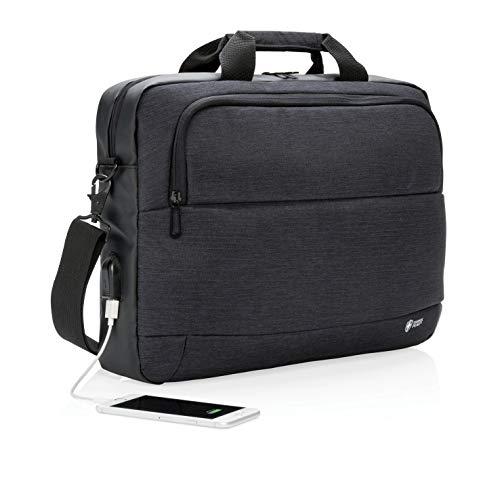 - Laptop Bag Expandable Messenger Shoulder Bag with Strap,Business Anti Theft Slim Durable Laptops Backpack with USB Charging Port,Water Resistant Briefcase for Women & Men Fits(Black)