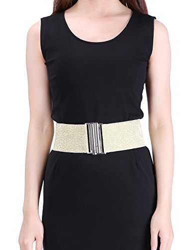 HDE Women's Elastic Cinch Belt with Column Style Buckle and Stretch Waist Band (Gold, (Sandy Outfit From Grease)
