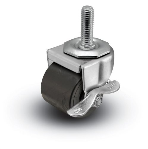 """2"""" Threaded Stem Low Profile Caster Polyolefin Single Wheel with Brake from Access Casters Inc."""