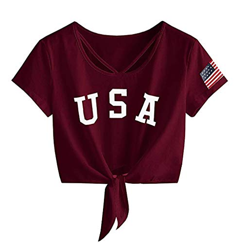 - ANJUNIE Womens Letter Print Short Sleeve Crop Tops Cross Scoop Neck T-Shirt Knot Front American Flag Tees(1-Red,XL)