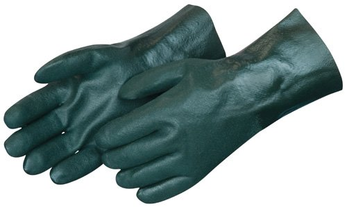 Liberty 2734 PVC Coated-Supported Jersey Lined Men's Glove with 14'' Gauntlet, Chemical Resistant, Dark Green (Pack of 12)
