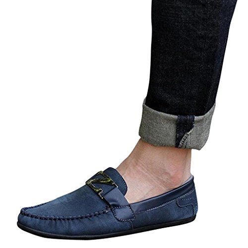 Hee Grand Mens Casual Flat Slip On Shoes US 7.5 Blue