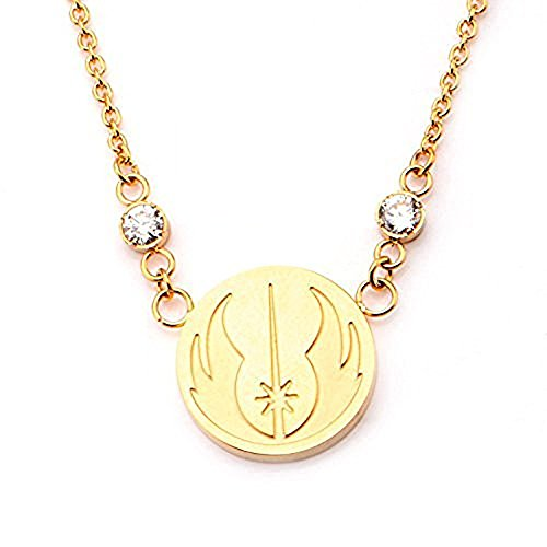 Disney Star Wars Women's Stainless Steel Gold IP Jedi Symbol Pendant Necklace with Chain 20