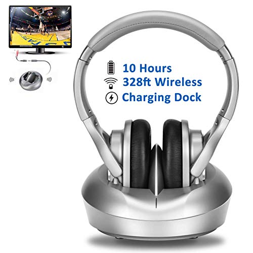 Wireless RF Headphones for TV Watching with Charging Dock, Over-Ear Stereo Headsets with Transmitter for Hard of Hearing, 328ft Signal Range, Light Weight & Extra Padding for Superior Comfort, 10hours