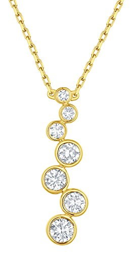 Prism Jewel 0.45 Carat G-H/I1 Natural Diamond Journey Necklace, 14k Yellow Gold