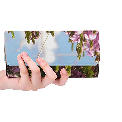 (Unique Custom Heather Plant Switches Flower Blossom Bloom Pink Women Trifold Wallet Long Purse Credit Card Holder Case Handbag)