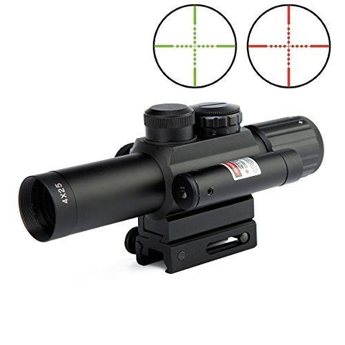 LVLING 2 In 1 Tactical 4 X 25mm Rifle Scope with Red Dot Laer Sight, Reflex Red / Green Reticle Mount