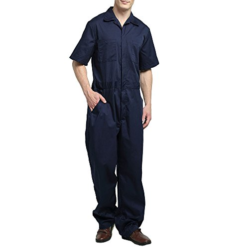 TopTie Men's Basic Short-Sleeve Work Coverall with Elastic Waist, Navy, XL
