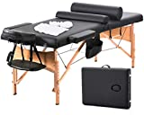 Massage Table Massage Bed Spa Bed 73 Inch Heigh Adjustable 2 Fold Portable Massage Table W/Sheet Cradle Cover 2 Bolster...