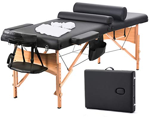 Massage Table Massage Bed Spa Bed 73 Inch Heigh Adjustable 2 Fold Portable Massage Table W/Sheet Cradle Cover 2 Bolster Hanger Facial Salon Tattoo Bed ()