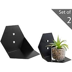 MyGift Modern 7-Inch Hexagonal Black Metal Floating Sconce Shelves, Set of 2