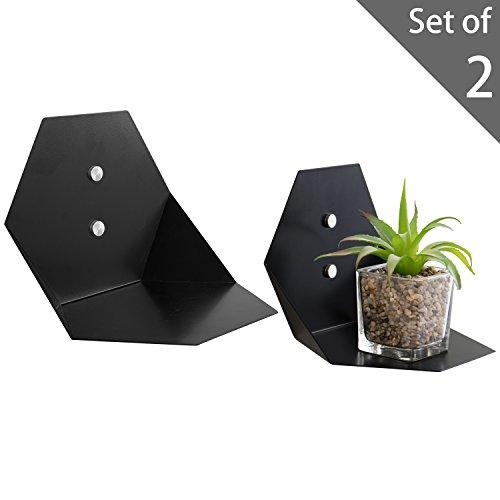Wall-Mounted Hexagonal Black Metal Floating Sconce Shelves, Set of 2 ()