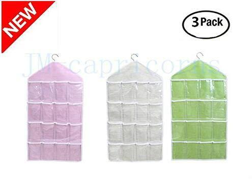 JM-capricorns 3 Piece 16 Pockets Clear Over Door Hanging Bag, Shoe Rack Hanger, Underwear Bra Socks Closet Storage Organizer