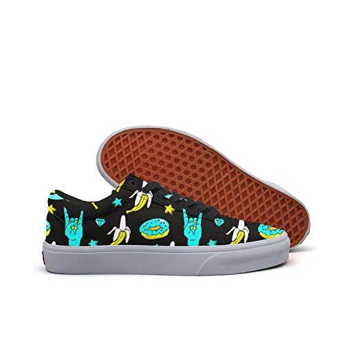 Bananas Speech Bubbles Donuts Stars and Diamonds Neon Pattern Girls Skateboard Shoes Wide Width Sneakers Sketchers