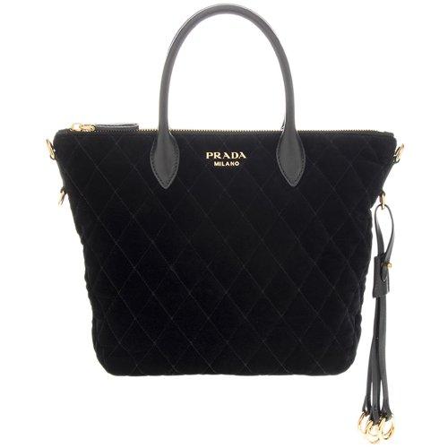 Prada Women's Quilted Velvet Handbag Black (Black Handbag Prada Quilted)