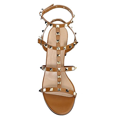 With Strappy Shoes VOCOSI Heel Straps Rivets T Sandals Classic Women's Rivet Gold Block Brown zPwPxqZr