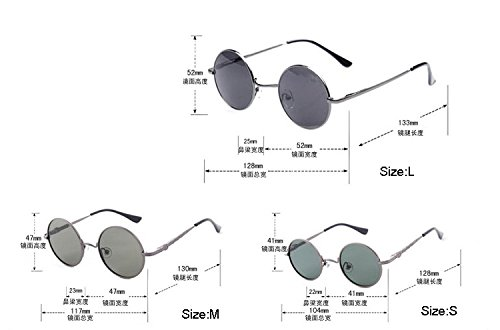 Size S Black Vintage Men Women Retro Round Metal Frame Sunglasses Glasses Eyewear Lens 3 Size