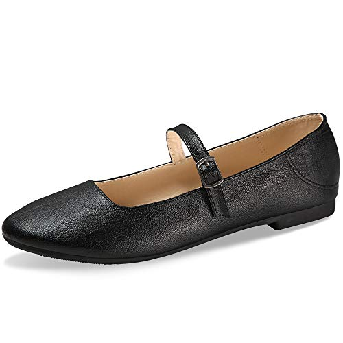 CINAK Flats Mary Jane Shoes Women's Casual Comfortable Walking Buckle Classic Ankle Strap Style Ballet Slip On (9-9.5 B(M) US/ CN41 / 10'', - Jane Shoes Dress Leather Mary