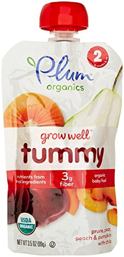 Plum Organics Stage 2 Grow Well Purees - Prune, Pear, Peach and Pumpkin with Chia - 3.5 oz - 6 Pack - Prunes Organics Stage 2