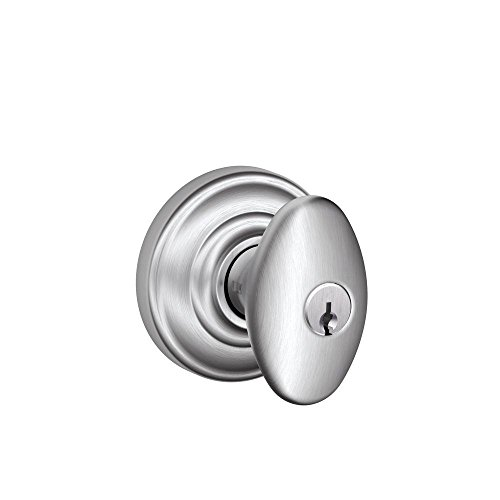 Schlage F51A SIE 626 AND Siena Knob with Andover Trim Keyed Entry Lock, Satin Chrome ()
