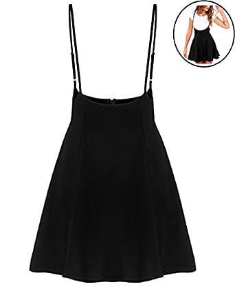 RARITY-US Women's Mini Suspender Skirt High Elastic Waist Versatile Flared Hem Overall Dress Sleeveless Sundress Black