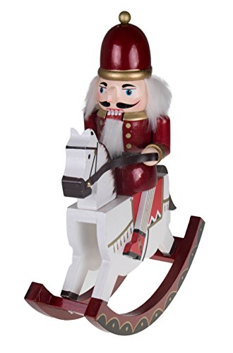 "King Nutcracker Rocking Horse by Clever Creations | Collectible Wooden Christmas Nutcracker | Festive Holiday Decor | Riding White Rocking Horse | 100% Wood | 12"" Tall (Red and Gold)"