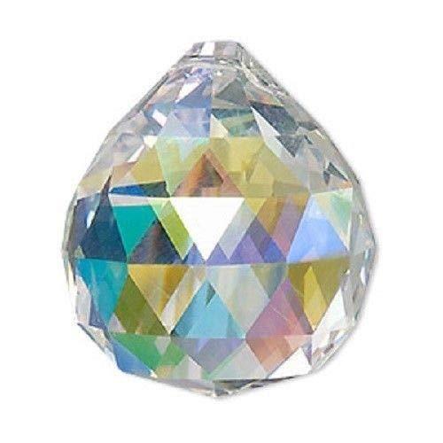 Asfour 30% Leaded Crystal AB 45x40mm Disco Ball Bead Teardrop Prism Suncatcher