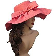 Lawliet Linen Summer Womens Kentucky Derby Wide Brim Sun Hat Wedding Church Sea Beach A047