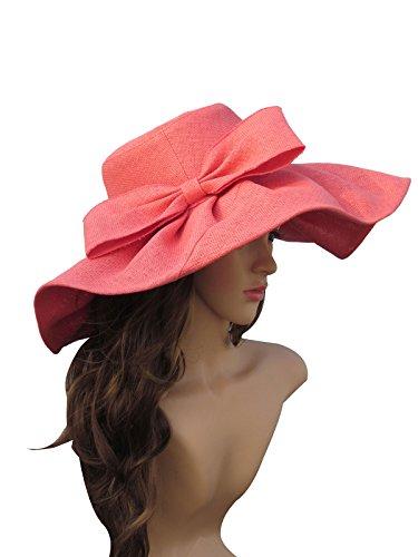 Southern Belle Hat (Linen Summer Womens Kentucky Derby Wide Brim Sun Hat Wedding Church Sea Beach A047 (Watermelon Red), One Size)