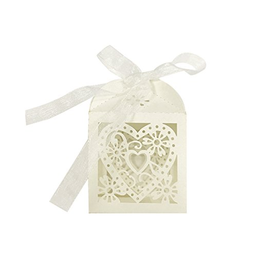 Allydrew Laser Cut Hearts Wedding Candy Favor Gift Boxes with Ribbon (Set of 50), Ivory