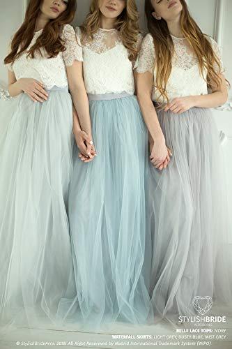 - Grey Blue Palette Bridesmaids Belle Lace Dress, Long Grey Dusty Blue Waterfall Bridesmaids Skirt, Grey Engagement Prom Dresses Plus Size