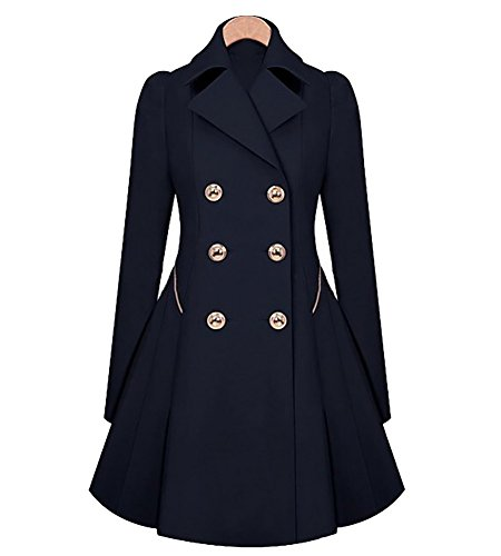Femmes Vintage 1850s Swing Trench Coat Manches Longues Parka Mi-Longue Veste Manteau Outwear Marine