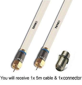 5 m Cable Coaxial para Satillite nqp de televisor sky Virgin 5 m blanco