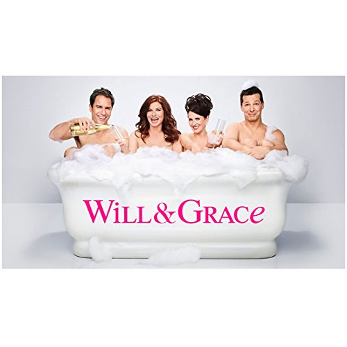 (Debra Messing 8 inch x 10 inch PHOTOGRAPH Will & Grace (TV Series 1998 - ) w/Cast in Bathtub Landscape View Title Poster kn)